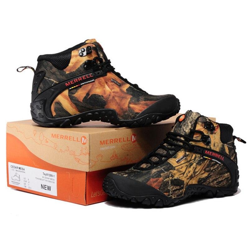 Merrell Hutan   Desert Kamuflase Unisex Pria dan Wanita Hiking Sepatu  Outdoor Untuk Trekking Climbing Gunung Sepatu 36 45 di Hiking Shoes dari  Olahraga ... df09d40442