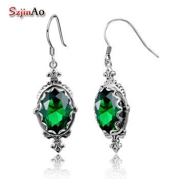 Pendientes de Esmeralda verde SZJinao, óvalo de gema, pendientes antiguos de Plata de Ley 925 para mujer, joyería de moda de compromiso de boda