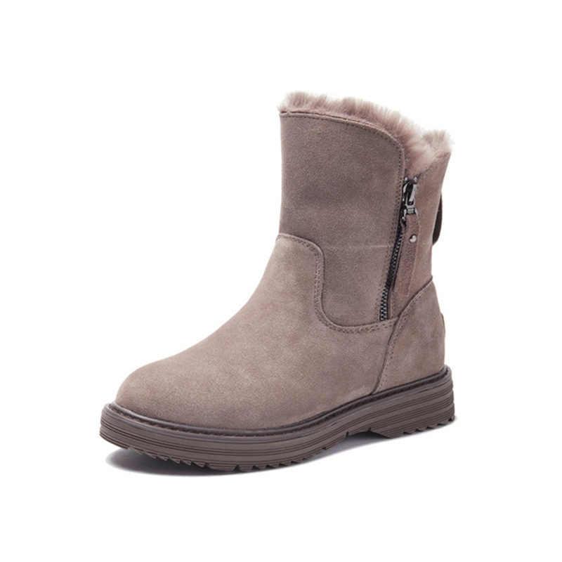 Женские зимние ботинки; ботильоны из натуральной кожи; женские зимние сапоги; теплая плюшевая зимняя обувь; коллекция 2019 года; женские ботильоны