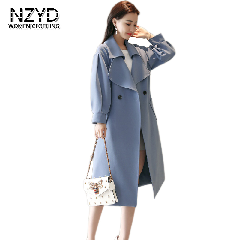 Blue Nouveau Printemps vent Nzyd1173 Trench De Occasionnel Femmes Survêtement Light Mi dark Blue 2018 rice Femelle S Coupe long Manteau Style Automne 2xl Mode gqXadA
