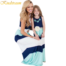 Kindstraum 2017 Family Matching Outfits Mother Daughter Dresses Striped Clothes Summer Vest For Mom Gril Kids, MC087