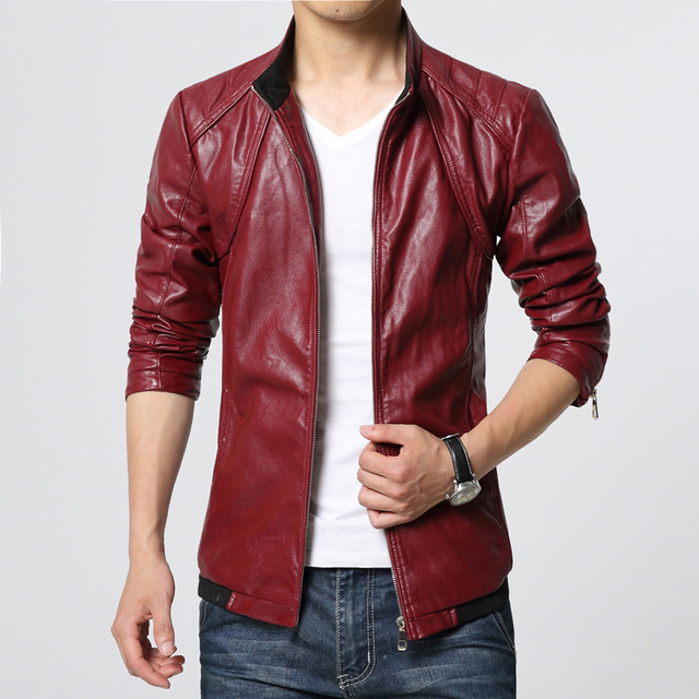 e475fa67a15 2018 leather jacket men fashion slim fit mens faux leather jackets stand  collar casual autumn coat plus size windbreaker jacket