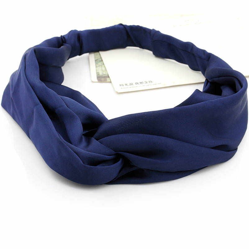 Dark Blue Cross Cloth Turban Headband Headwear Hair Accessories for Women