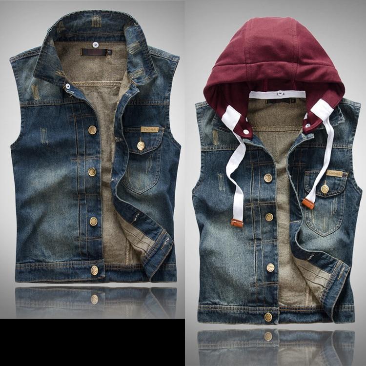 La Free Top Male Jean los Holes Vests Chalecos ropa Hooded Cotton Denim Fashion Shipping y Vest Men's 2015 Clothing Blue Chalecos Cotton en de de Dark Owx7ZBCB