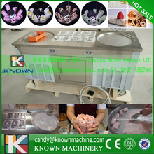 Free ship by sea fry ice cream roll machine Refrigerant R410a good for environment freezer 2 pans fried ice cream roll machine