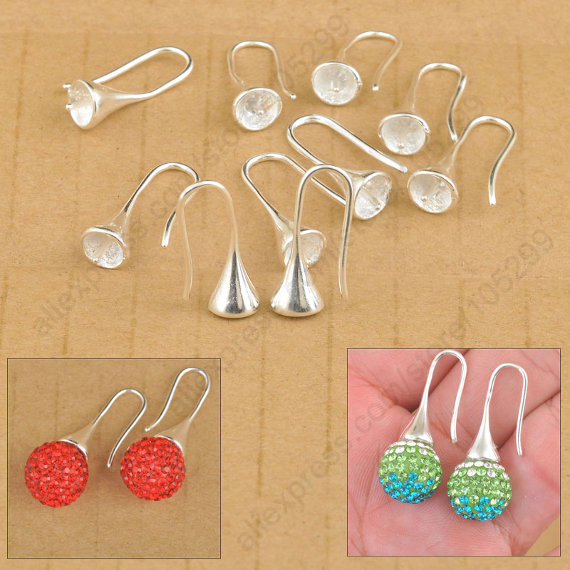 Free Shipping Wholesale 20PCS Lot Findings Bright 925 Sterling Silver Earring Bail Trumpet Hook Ear Wires