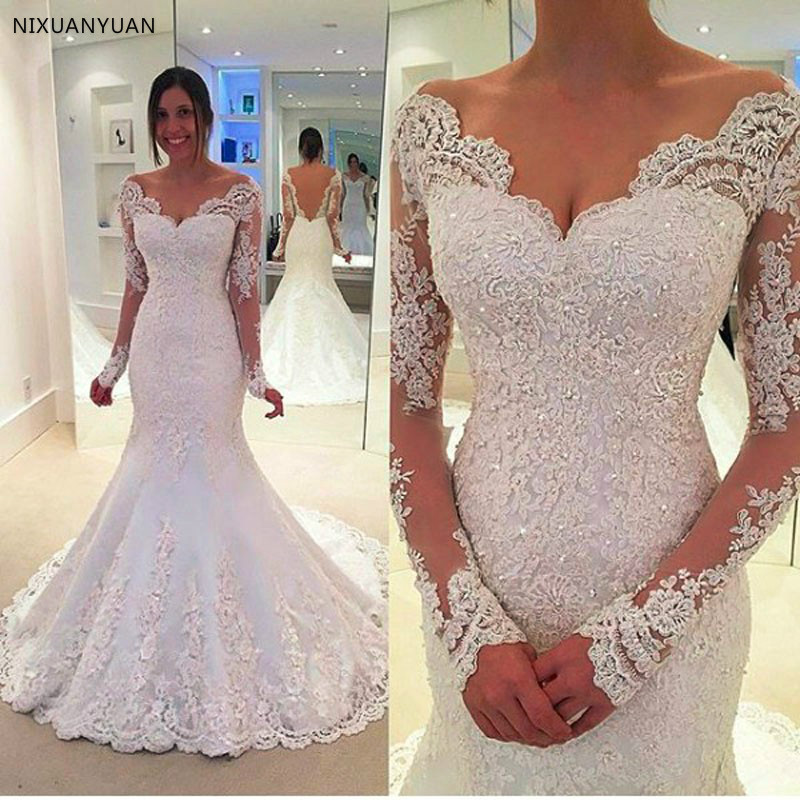 High Quality Vestido De Noiva Mermaid Wedding Dress Sheer Tulle Back Sexy Trumpet Wedding Gown Customise Robe De Mariage