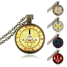 Bill Cipher Wheel Pendant Steampunk Drama Gravity Falls Mysteries Necklace Doctor Who Jewelry Glass Cabochon Pendant Magic HZ1