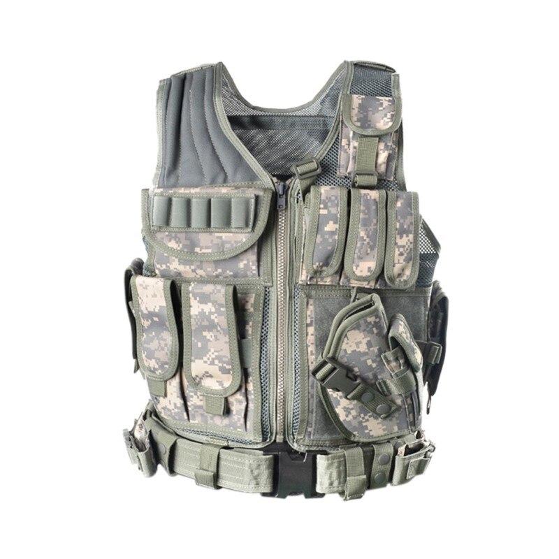 2018 chaleco táctico de policía al aire libre camuflaje militar cuerpo armadura deportes desgaste caza chaleco ejército Swat Molle chalecos nueva llegada LYZ, tácticas SWAT, escudo, juguetes para juego de callos