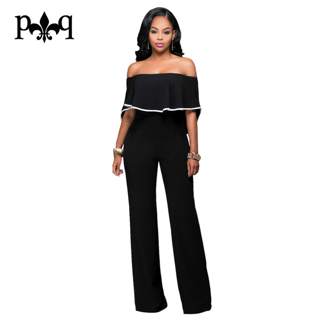 Summer Black Jumpsuit Women Strapless Off Shoulder Sexy Ruffles Rompers  Casual Long Pants Back Zipper Rompers