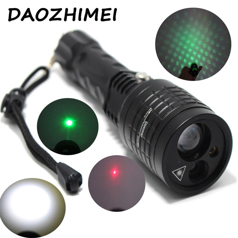 Zoom Focus Flashlight Red+Green Laser Pointer Torch 4 Modes Hunting Laser Light