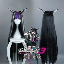 Danganronpa pelucas de pelo sintético para Cosplay, postizo de Cosplay de Mioda Ibuki de 100cm de largo, resistente al calor, con gorro para peluca