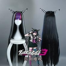 Novo danganronpa mioda ibuki cosplay perucas 100cm longo resistente ao calor do cabelo sintético perucas peruca cosplay + peruca boné