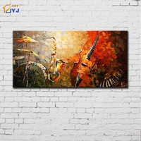 Jazz Band Wall Art Wall Picture for Living Room Hand Painted Abstract Oil Canvas Painting Home Decor Posters Festival Gift