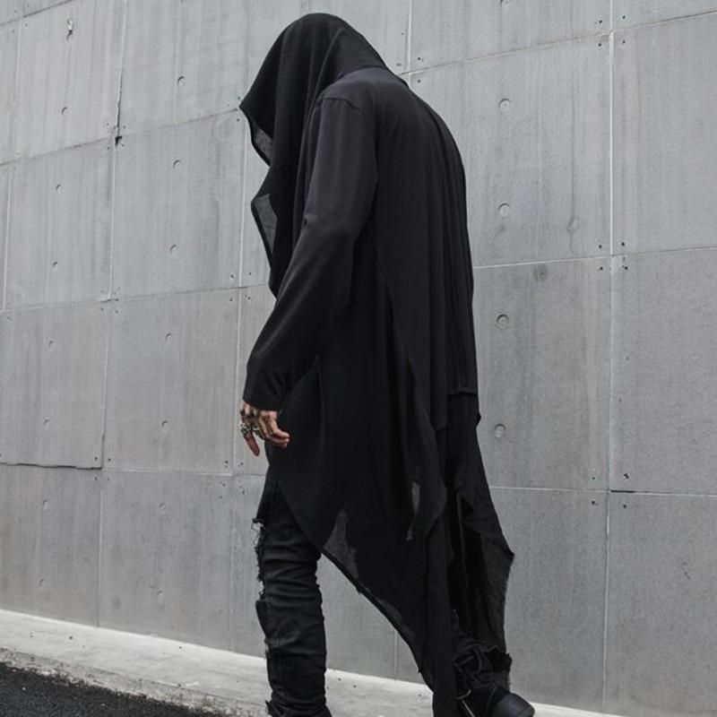 Spring Summer Men Thin Gothic Style Hip Hop Punk Long Trench Coat Hooded Cloak Men Nightclub Vintage Cape Streetwear Long Jacket