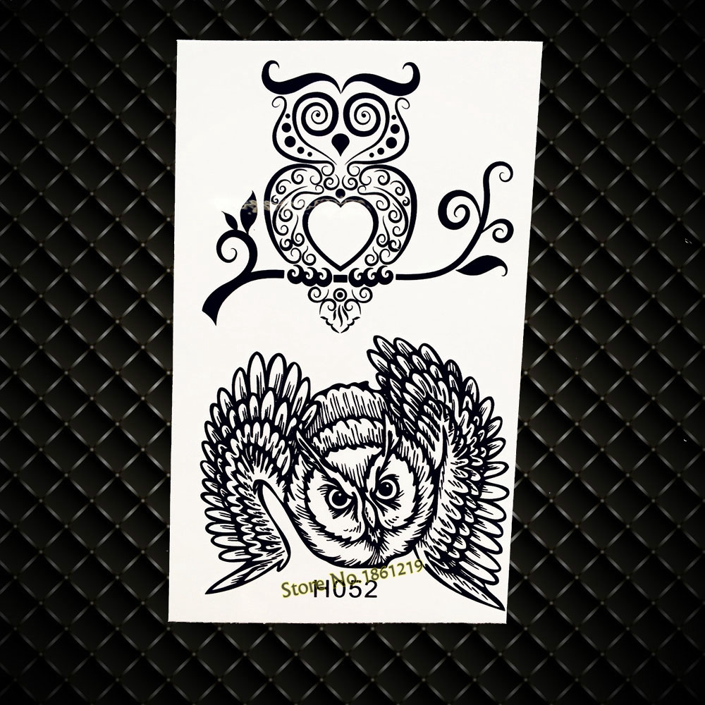 Cooperative Fashion Temporary Tattoo Supplies Kids Children Body Art Arm Legs Tattoo Stickers Gh052 Wise Owl Tree Branch Black Henna Tattoos Beauty & Health