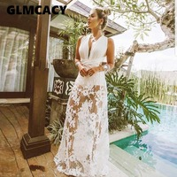 Women Sexy Lace Hollow Out Deep V neck Sleeveless Maxi Dresses Bohemian White Floor Length Backless Summer Dress
