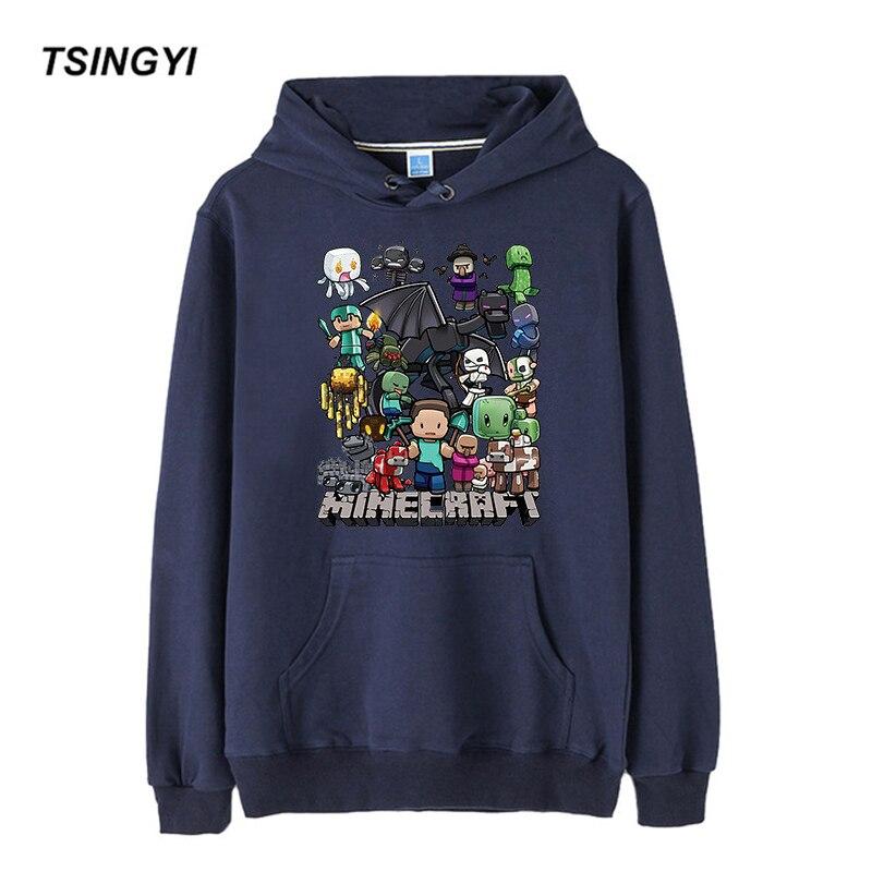 Tsingyi Cartoon Print Minecraft Autumn Hooded Hoodies Men Pullover Streetwear Hoody Sweat Homme Men Terry Hoodie Sweatshirt