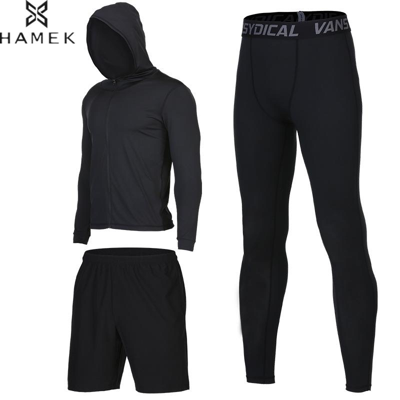 Basketball Training Suits 3Pcs Men Running Sets Compression Kits Sports Set Gym Fitness Jacket Jogging Tracksuits Workout Tights 3 piece set men s sports running stretch tights leggings t shirts shorts training pants jogging fitness gym compression suits
