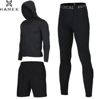 Basketball Training Suits 3Pcs Men Running Sets Compression Kits Sports Set Gym Fitness Jacket Jogging Tracksuits Workout Tights