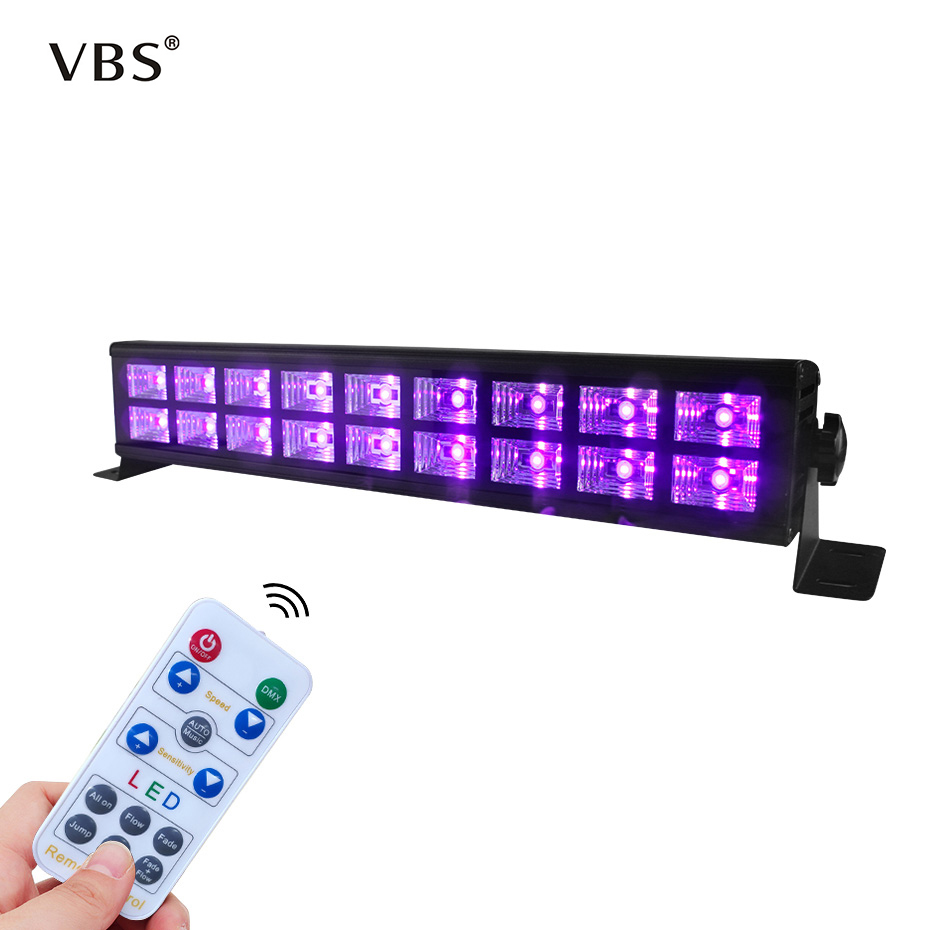 LED UV Black Light Stage Lighting Effect Indoor Bar DJ Disco Party 54W 18 LED Blacklight UV Lamp LED Strip Lights Party Club A1