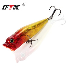 Купить с кэшбэком FTK 3D Fishing Lure Lifelike Eyes Popper  65mm 6g high carbon steel Treble hook Crankbait Wobblers Tackle Floating Topwater