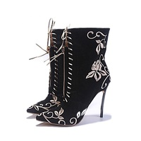 Newest Embroider Short Boots Black Pointed Toe Thin Heels Ankle Boots Autumn Print High Heel Shoes Fashion Party Shoes
