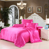 IDouillet Solid Color Silk Satin Bedding Set Duvet Cover Bed Flat Or Fitted Sheet Pillowcase Twin