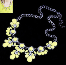 New SBY0218 Fashion  chain Chokers chunky big statement Flower crystal necklace 2014