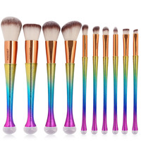 Professional 10PCS Mermaid Makeup Brushes Set Foundation Blending Powder Eyeshadow Contour Concealer Blush Cosmetic Make Up