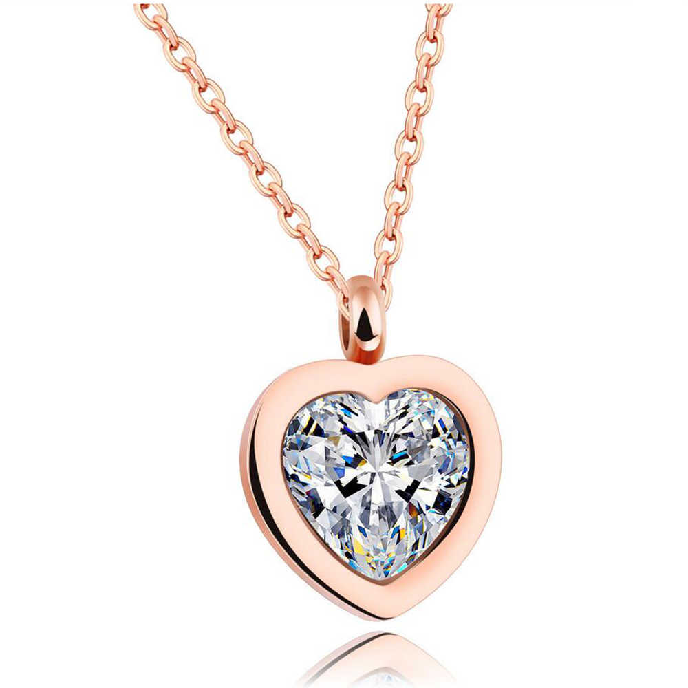 Bridesmaid Heart Pendant Rose Gold Stainless Steel Pendant Necklace With High Quality Cubic Zirconia Heart Necklace For Women
