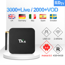 1 Year IUDTV IPTV Code TX6 UK Swedish Subscription 4G 64G Android 9.0 TV Box German Spain Italy Greece India IP