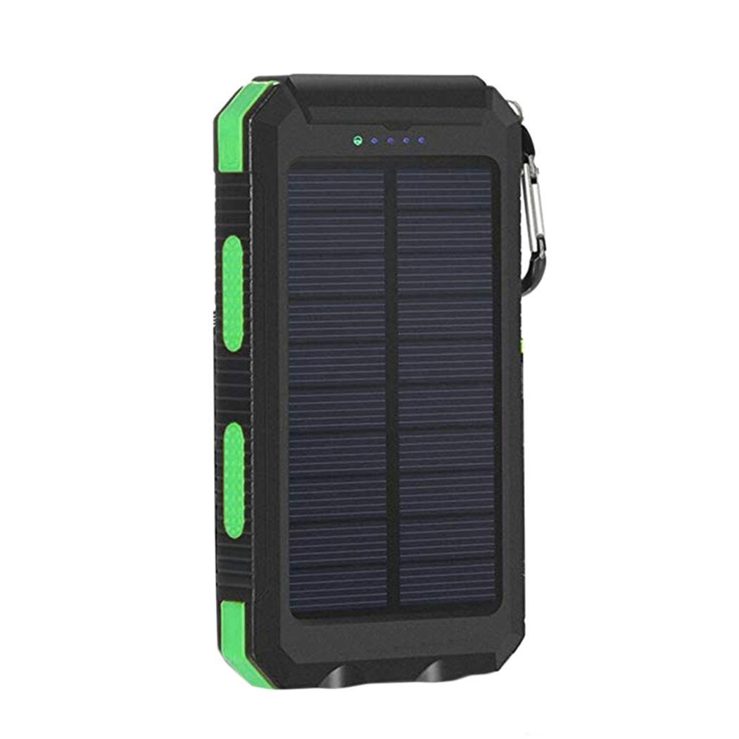 Водонепроницаемый Банк солнечной энергии для iPhone Двойной USB портативный повербанк с компасом двойной светодиодный фонарик 6000 mAh внешний аккумулятор - Цвет: green