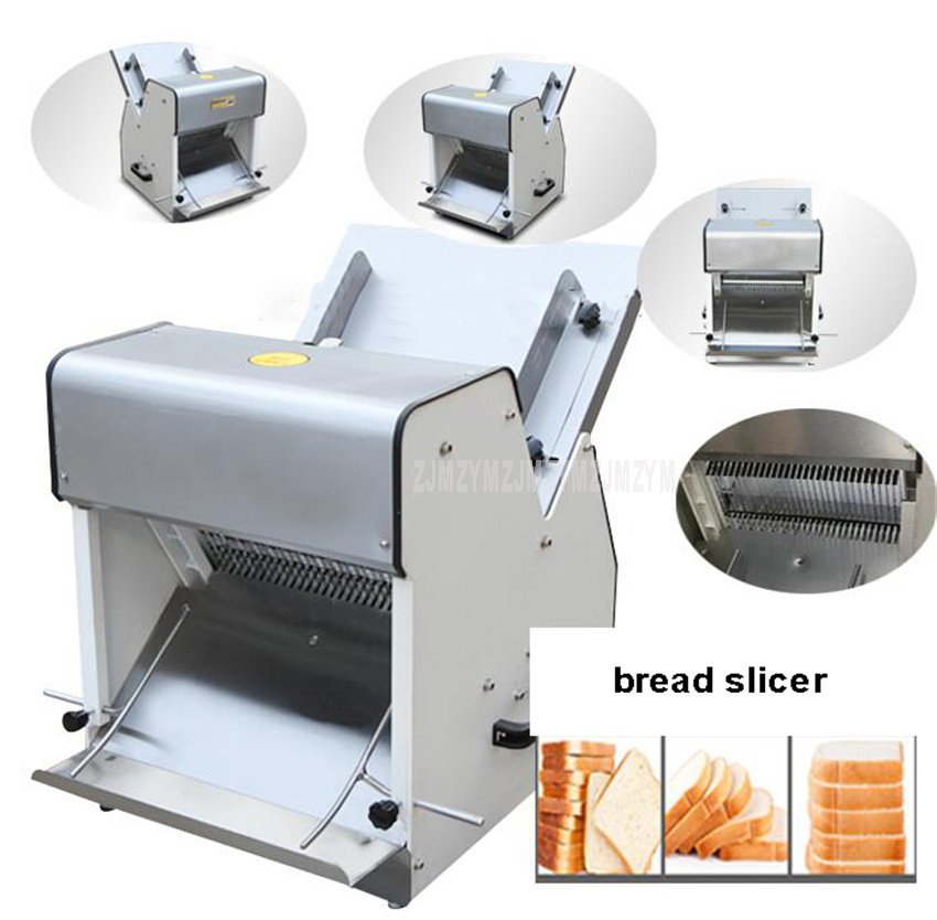 Electric 31 Slices 12mm Thick Bread Slicer Machine Stainless Steel Steamed Bun Slicer Commercial Toast Slicing Machine 250W