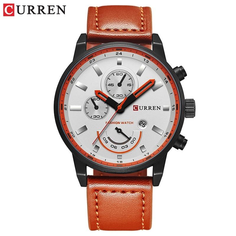 CURREN Men's Casual Sport Quartz Watch Mens Watches Top Brand Luxury Quartz-Watch Leather Military Watch Wrist Male Clock Drop