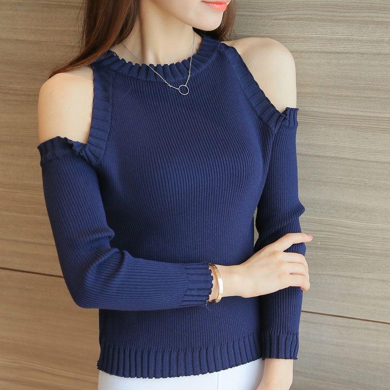 knitted t shirt women cotton t-shirt long sleeve tshirt slim off shoulder top casual tee shirt femme camisetas poleras de mujer