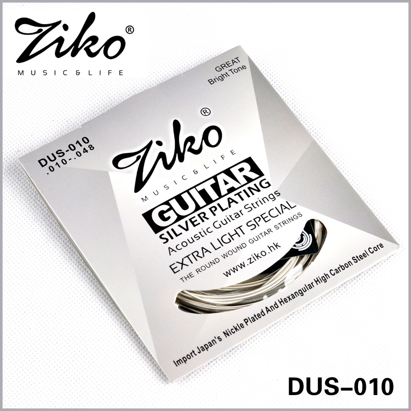 Ziko Acoustic Guitar Strings Set 010 011 012 Great Bright Tone Silver Plating 6Strings/set For Wound Acoustic Guitar amola acoustic guitar strings set 010 012 011 pure copper steel 010 047 acoustic wound guitar 1 6th string musical instruments