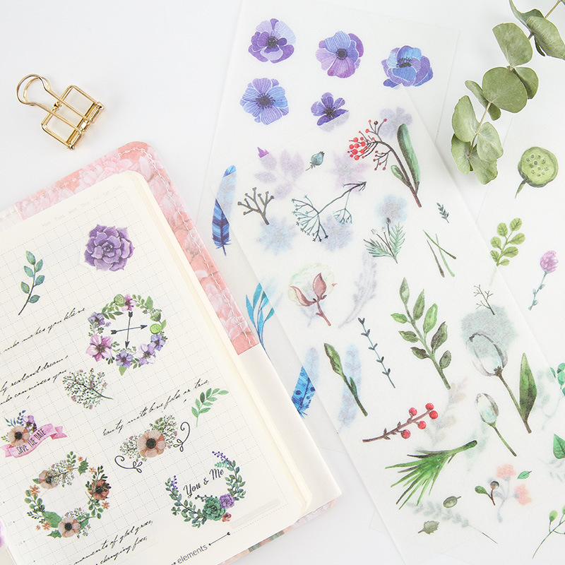 F25 6 Sheets Fresh Floral & Green Plants Adhesive Stickers Decorative Album Diary Stick Label Hand Account Decor Stationery