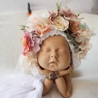 Sitter Size Flower Bonnet Shoot Floral Garden Bonnet Newborn Photography Props Baby Photo Props Newborn Photo Hat bebe Headdress