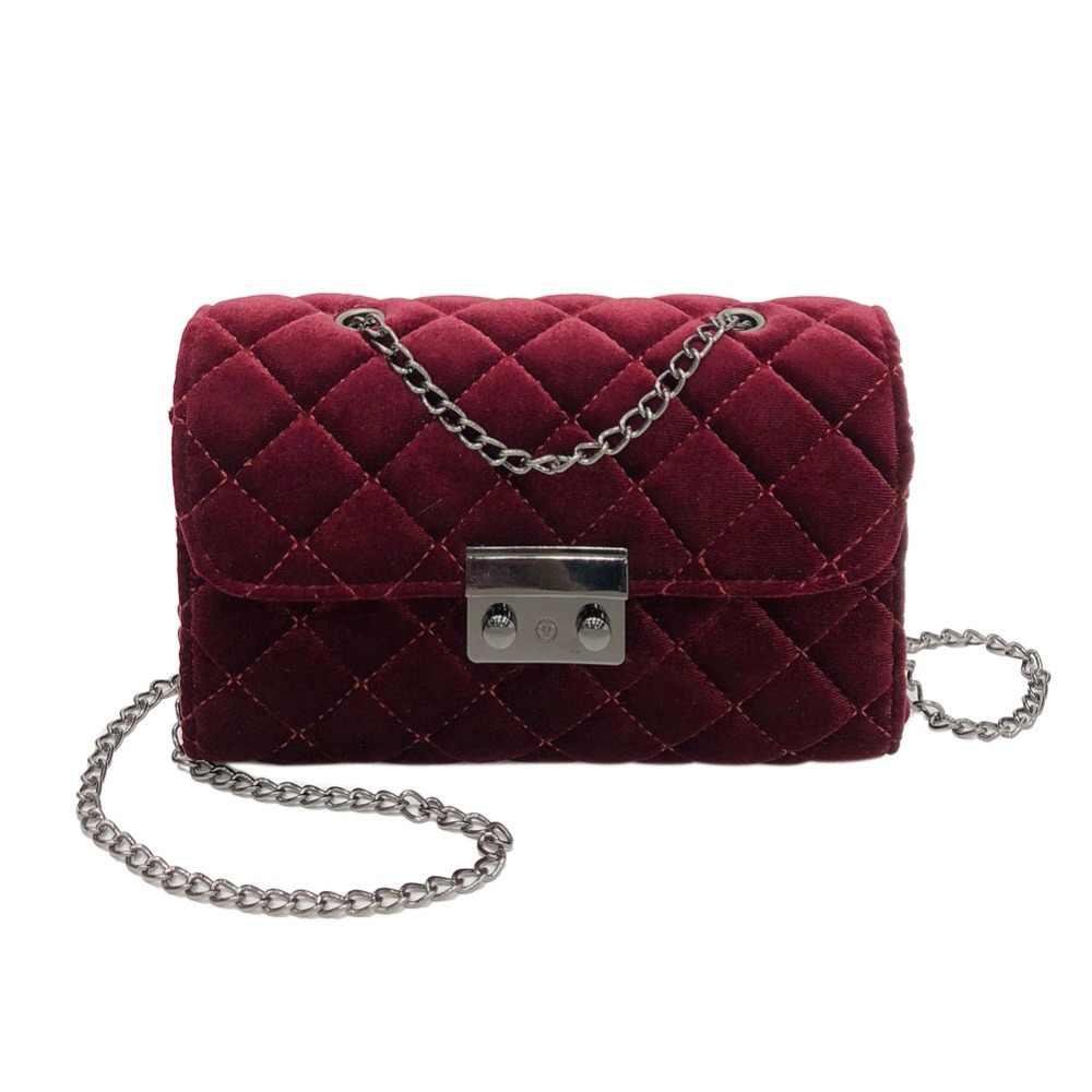 4c98797511c7 Women Velour Messenger Bag Fashion Evening Shoulder Bags Female Ladies  Famous Brand Velour Plaid Small flap