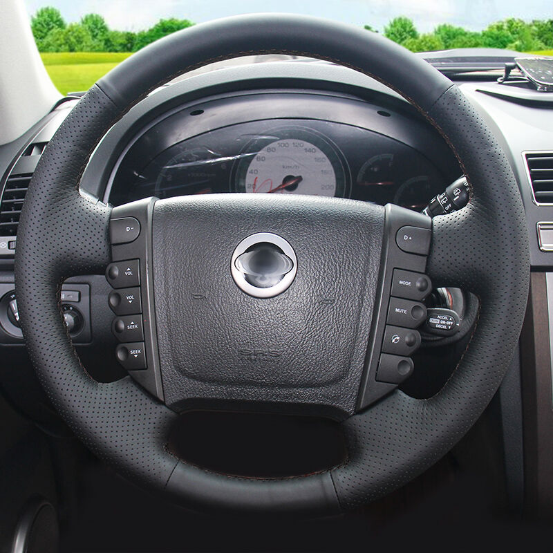 BANNIS Black Artificial Leather DIY Hand-stitched Steering Wheel Cover for Ssangyong Rexton Rexton W Rodius