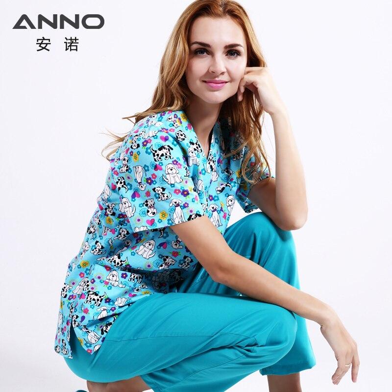 ANNO 5XL Plus tamaño azul uniformes médicos conjunto uniformes médicos ropa clínica Dental de enfermería bata de pelo de las mujeres cómoda