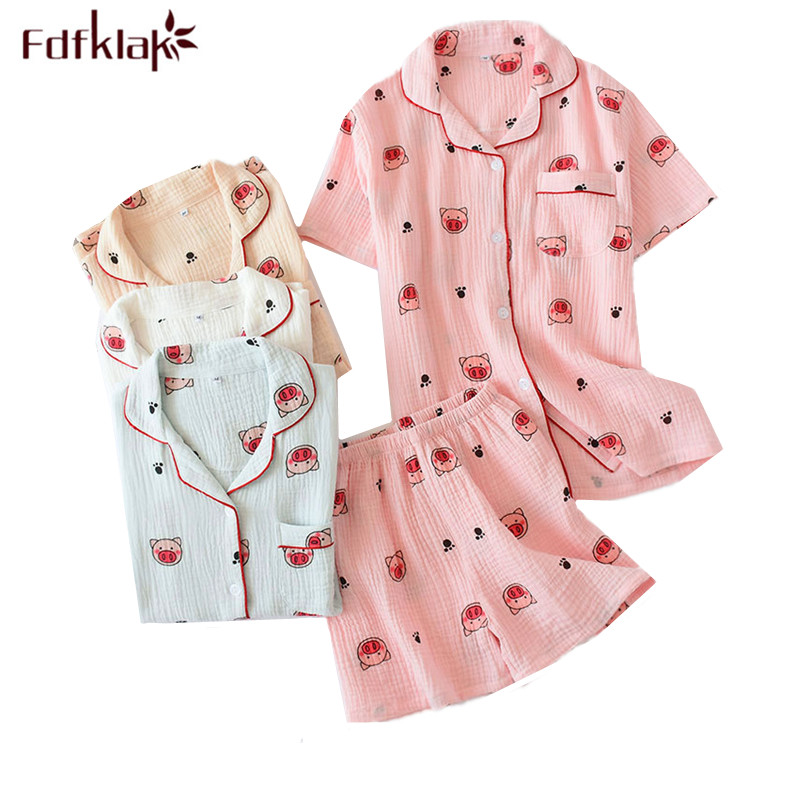 Women's sleepwear set short sleeve summer pajamas print student's home clothes cotton shorts sleepwear pijama new pyjama femme