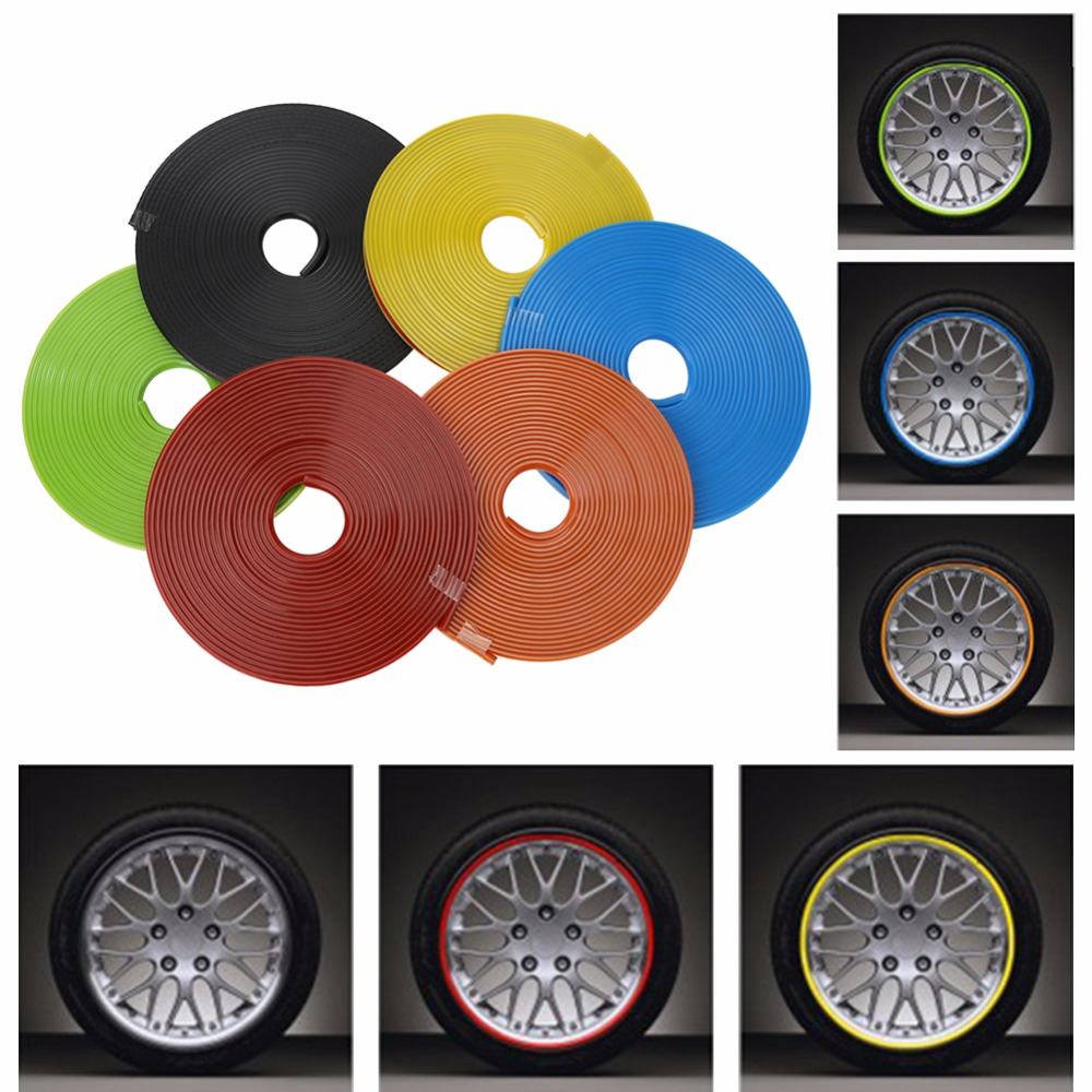Car Wheel Strip Protector Hub Sticker 8m Car Decorative Strips Reflective Rim Bike Motorcycle Car Tape Auto Styling Accessories 8m rim tape wheel stripe decal trim sticker