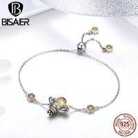 BISAER Hot Sale 100% 925 Sterling Silver Busy Bee Yellow Crystal CZ Women Chain Link Bracelet Fashion Bracelet Jewelry GXB043