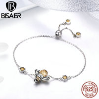 BISAER Hot Sale 100% 925 Sterling Silver Busy Bee Yellow Crystal CZ Women Chain Link Bracelet Fashion Bracelet Jewelry GXB043