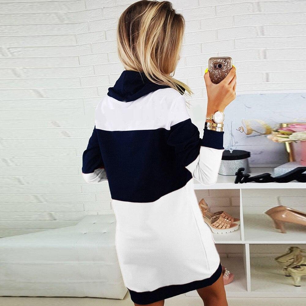 Женское лоскутное платье мини с капюшоном фото