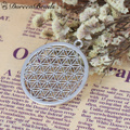 """DoreenBeads Zinc Based Alloy Flower Of Life Pendants Round Silver Tone Hollow Carved 44mm(1 6/8"""") x 40mm(1 5/8""""), 3 PCs"""