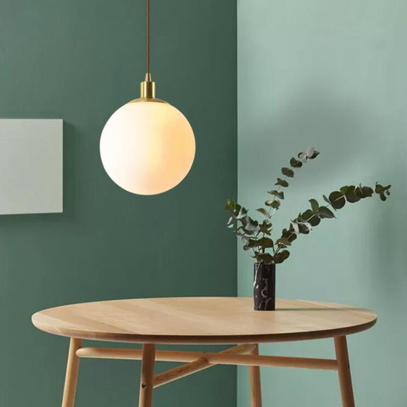 LuKLoy Brass Cream Glass Ball Pendant Light Modern Pendant ...