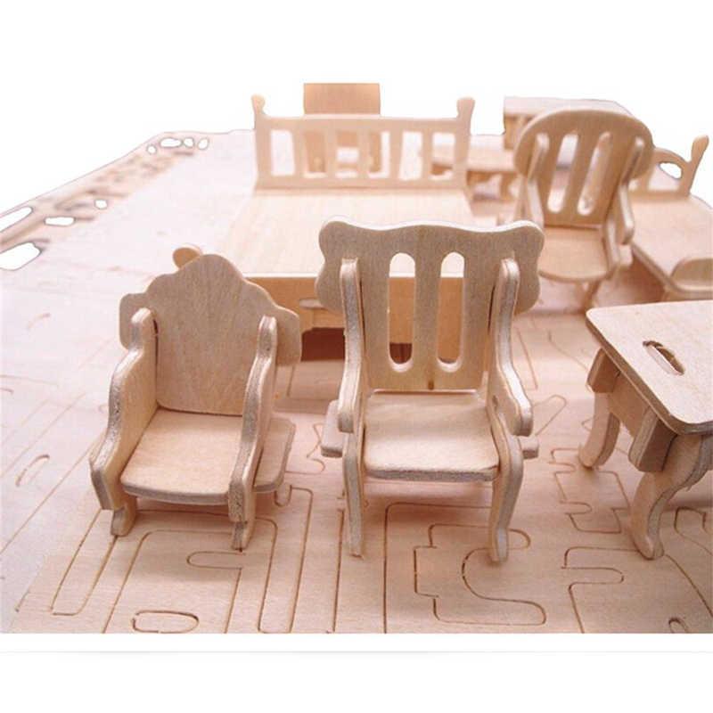 Миниатюрный 1:12 кукольный домик мебель для кукол мини 3D деревянная головоломка DIY игрушечная Сборная модель для детей подарок